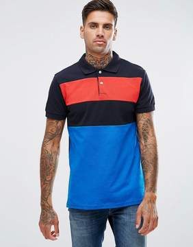 Pull&Bear Short Sleeve Polo With Contrast Stripe In Blue