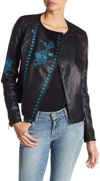 Desigual Asymmetrical Front Zip Embroidered Faux Leather Jacket