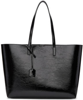 Saint Laurent Black Patent East-West Shopping Tote - BLACK - STYLE