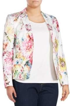 Basler Plus Size Floral Open Front Blazer
