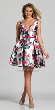 Dave and Johnny Plunging V-shape Floral Pleated Fit and Flare Homecoming Dress