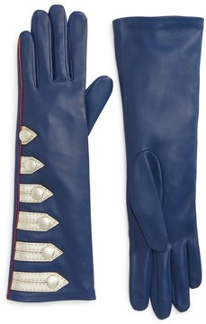 Agnelle Women's Metallic Stripe Lambskin Leather Gloves
