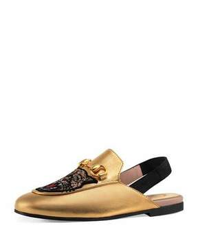 Gucci Angry Cat & Flower Metallic Leather Mule Slide, Kids' Sizes 10T-2Y