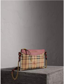 Burberry Haymarket Check and Two-tone Leather Clutch Bag - DUSTY PINK/MULTICOLOUR - STYLE