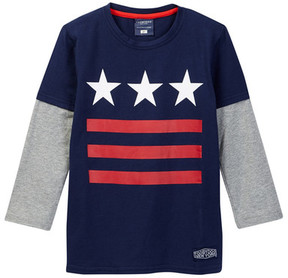 Toobydoo Wooster Long Sleeve Tri Star 2fer Tee (Toddler & Little Boys)