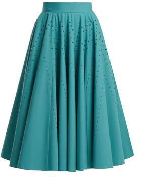 Bottega Veneta Studded A-line cotton-poplin skirt