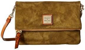 Dooney & Bourke Suede Fold-Over Zip Crossbody Cross Body Handbags - AMBER W/ TAN TRIM - STYLE
