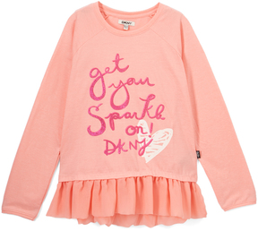 DKNY Pink Ice 'Get Your Sparkle On' Peplum Top - Toddler & Girls