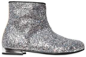 Simonetta Glittered Leather Ankle Boots