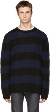 McQ Black and Navy Striped Cable Crewneck Sweater