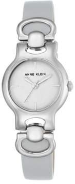 Anne Klein Silvertone White Dial Gray Leather Strap Watch