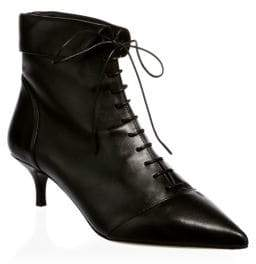Tabitha Simmons Foldover Point Toe Leather Booties