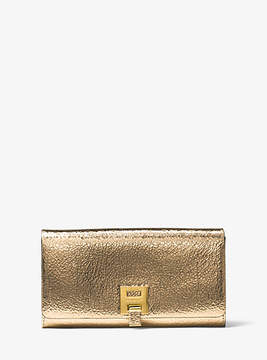 Michael Kors Bancroft Crackled Metallic Leather Continental Wallet - GOLD - STYLE