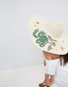 Asos Straw Embroidered Floppy Hat with Size Adjuster