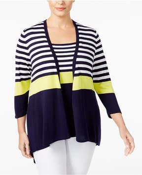 Belldini Plus Size Striped Cardigan & Tank Top Matched Set