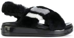Prada faux fur sandals