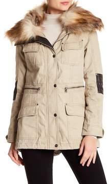 Blanc Noir Faux Fur Trimmed Utility Jacket