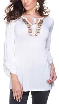 Belldini White Sequin Notch Neck Top - Women