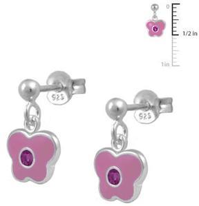 Ice Girls' Jewelry Silver Butterfly Dangling Earrings