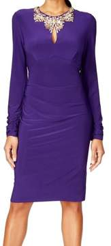 Vince Camuto Women's Long Sleeve Embellished Keyhole Neck Dress (4, Purple)