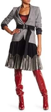 Angie Two-Tone Metallic Pleated Midi Skirt