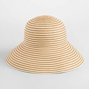 World Market Dark Beige and White Stripe Bucket Hat
