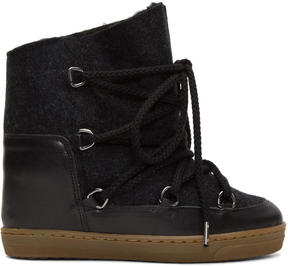 Isabel Marant Grey Sheepskin Nowles Boots