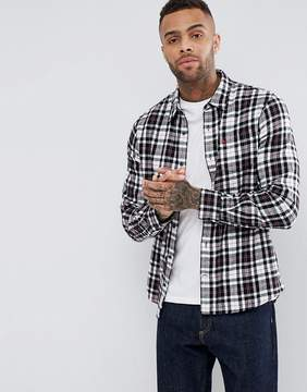Jack Wills Stanwick Flannel Check Shirt In Black/White