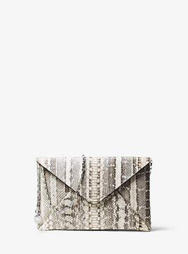 Michael Kors Snakeskin Envelope Clutch - NATURAL - STYLE