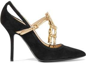 Moschino Embellished Suede Pumps