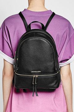 MICHAEL Michael Kors Leather Backpack - BLACK - STYLE
