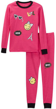 Petit Lem XOX Emoji Long Sleeve Pajama Set (Toddler & Little Girls)