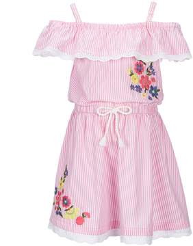 Flapdoodles Little Girls 2T-6X Striped Floral-Embroidered Dress