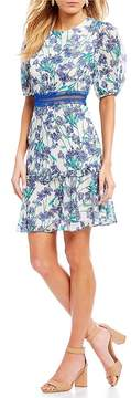 Donna Morgan Floral Print Ruffle Tier Fit and Flare Dress