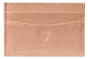 Aspinal of London Slim Credit Card Case In Gunmetal Saffiano Deep Fuchsia Suede