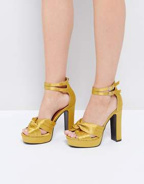 Glamorous Yellow Double Strap Platform Heeled Sandals