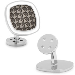 Ravi Ratan Palladium Black And White Houndstooth Cufflinks.