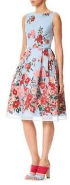 Carolina Herrera Floral Embroidered Dress