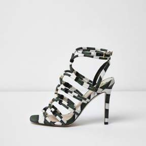 River Island Womens Khaki green stripe caged sandals
