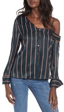 J.o.a. Women's One-Shoulder Stripe Shirt