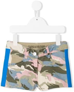 Zadig & Voltaire Kids camouflage print denim shorts
