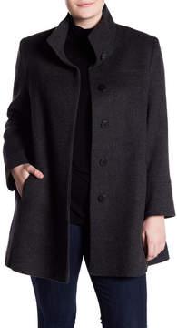 Fleurette Stand Collar Wool Blend Coat (Plus Size)