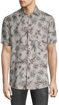 Saks Fifth Avenue BLACK Men's Printed Short-Sleeve Linen Button-Down Shirt