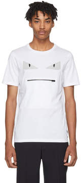 Fendi White Bag Bugs Zip Mouth T-Shirt