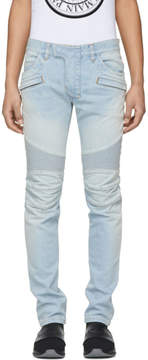 Balmain Blue Biker Spray Jeans