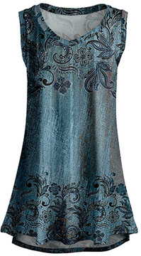 Lily Black & Teal Floral Sleeveless Tunic - Women & Plus