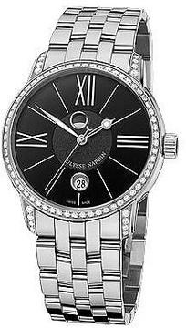 Ulysse Nardin Classico Luna Black Dial Stainless Steel Diamond Men's Watch