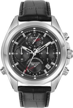 Bulova Precisionist 96B259 Black Leather Analog Quartz Men's Watch