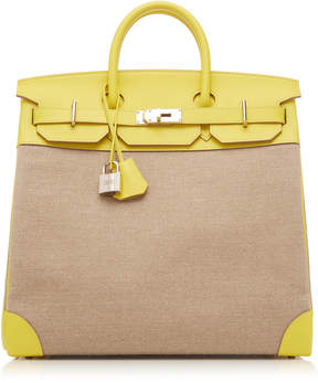 Hermes Vintage by Heritage Auctions 40cm Lime Evercolor Leather and Toile Birkin HAC