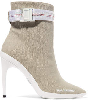 Off-White For Walking Buckled Canvas Ankle Boots - Sand